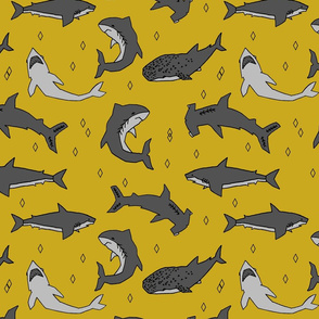 shark //  sharks mustard yellow grey kids room cute boys fabric sharks shark design shark fabric