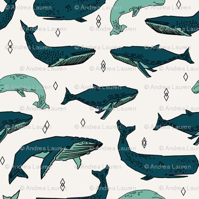 whale // whales ocean nautical green summer kids baby animals