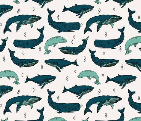 whale // whales ocean nautical green summer kids baby animals fabric by andrea_lauren on Spoonflower - custom fabric