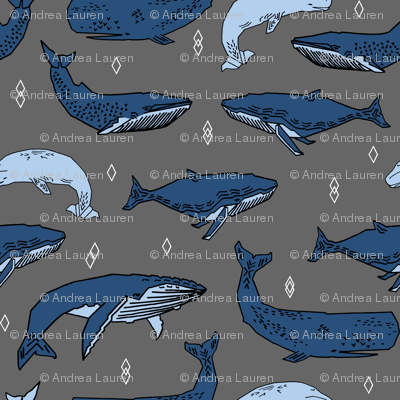 whales // charcoal and blue kids ocean nautical animals