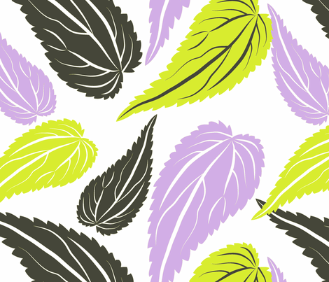 Nettles - lime and lavender 02 fabric by rosie_dreams on Spoonflower - custom fabric