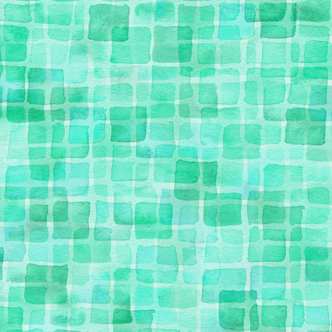 double watercolor squares in teal green fabric by weavingmajor on Spoonflower - custom fabric