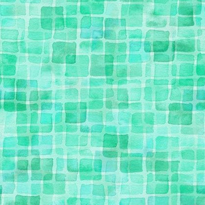 double watercolor squares in teal green