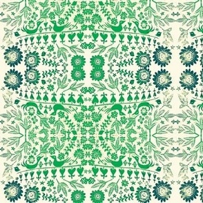 Green woodcut blossoms and birds