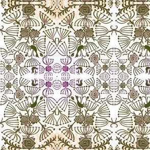Bird Rose Queen Anne's Lace white brown tan purple