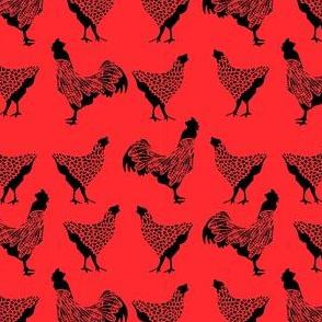 Black Chicken on Red