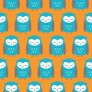 turquoise, orange and gray sleepy owls