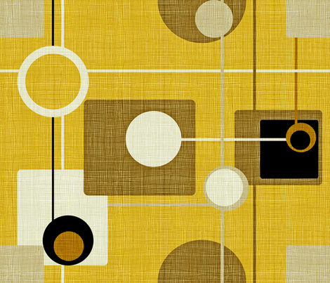 orbs_and_squares_gold fabric by chicca_besso on Spoonflower - custom fabric