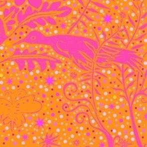 pink orange fern birds star snow