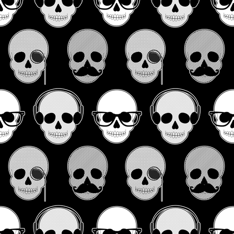Hipster Skulls Pattern fabric by jannasalak on Spoonflower - custom fabric