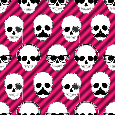 Hipster Skulls Pattern PInk fabric by jannasalak on Spoonflower - custom fabric