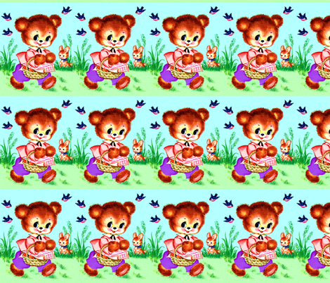 vintage retro kitsch seamless border garden teddy bears bunnies bunny rabbits picnic baskets birds swallows kawaii nursery lolita nursery infants fabric by raveneve on Spoonflower - custom fabric