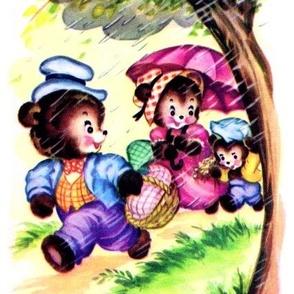 vintage kids kitsch forest teddy 3 bears picnic baskets  kawaii nursery lolita nursery infants father mother children son family raining umbrella