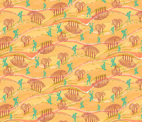 Teal Hikers Color 2 fabric by vinpauld on Spoonflower - custom fabric