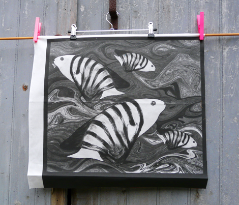 FISHES WAVES BW Pillow Panel