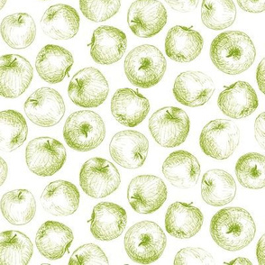 sketched apples - green on white
