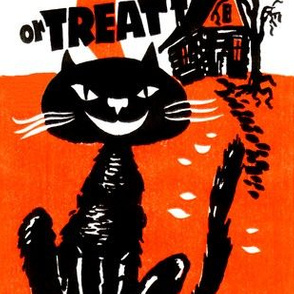 vintage retro kitsch halloween black cats crescent moon haunted houses trick or treat