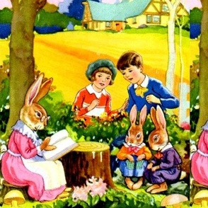 vintage kids kitsch fairy tales rabbits hares bunnies bunny story telling children boys girls forest mushrooms houses fields mother Anthropomorphic