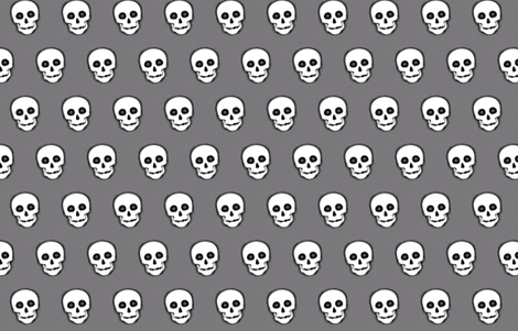 XL Skull White on Gray- remix-2 fabric by phatcatpatch on Spoonflower - custom fabric