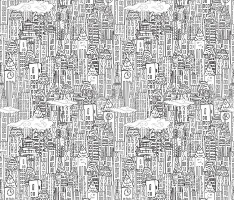 cute cartoon city black and white fabric by diane555 on spoonflower custom fabric