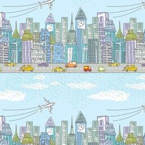Cute Cartoon City Rows - Color