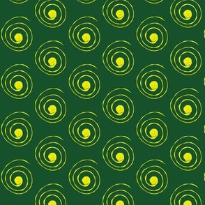 Spirals Yellow on Green