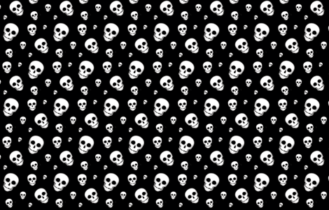 XL Skull White on Black- tossed 2  fabric by phatcatpatch on Spoonflower - custom fabric