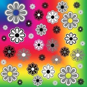 Rainbow Groovy Flower Power