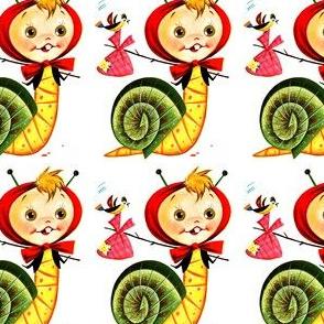 vintage kids retro kitsch chimera children boys snails hybrid monster whimsical