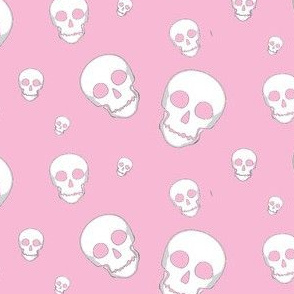 Skull White on Pink- tossed