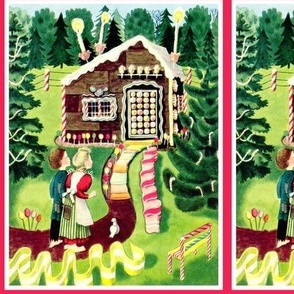 vintage kids Hansel Gretel gingerbread house forests cakes lollipops candy canes ice cream sour power belts sweets candles fairy tales peppermints