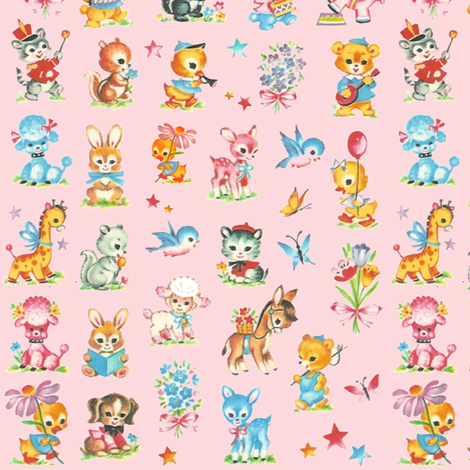 Best Baby animals pink! poodle dog duck deer giraffe donkey rabbit skunk squirl bluebird elephant teddy bear fabric by parisbebe on Spoonflower - custom fabric