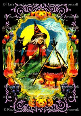 vintage retro kitsch halloween black cats witches spells magic cauldron pumpkins full moon fruits grapes corns apples borders witchcraft
