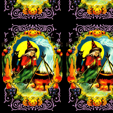 vintage retro kitsch halloween black cats witches spells magic cauldron pumpkins full moon fruits grapes corns apples borders witchcraft fabric by raveneve on Spoonflower - custom fabric