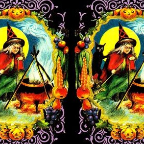 vintage retro kitsch halloween black cats witches spells magic cauldron pumpkins full moon fruits grapes corns apples borders witchcraft