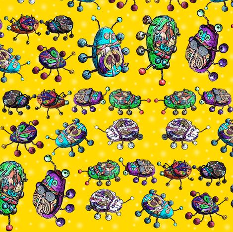 BEETLE MANIA yellow lemon ladybug scarab fabric by paysmage on Spoonflower - custom fabric