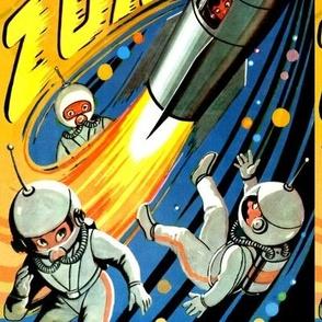 vintage retro kitsch astronauts science fiction futuristic spaceships rockets planets space man galaxy shuttle pilots pop art comics cartoon