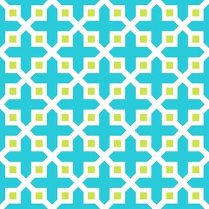Cross Section Pattern Turquoise and Lime Green
