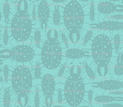 Beetles bugs insects on green blue turquoise mint