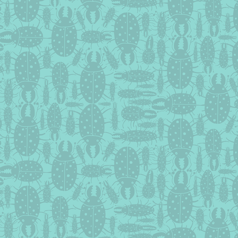 Beetles bugs insects on green blue turquoise mint fabric by amy_g on Spoonflower - custom fabric