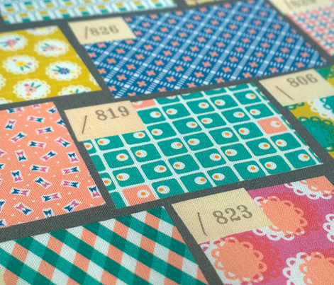 Swatchbook (Gray) || fabric swatches numbers tags staples vintage feedsack feed sack cheater quilt sampler samples patchwork