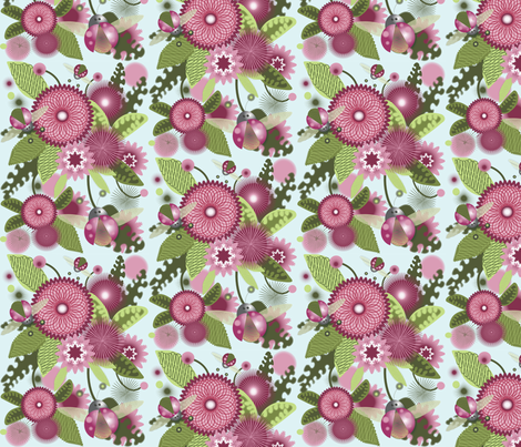 Blooms and Bugs fabric by pennyauntie on Spoonflower - custom fabric