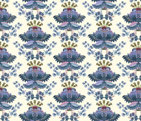 Crewel Damask Blue fabric by chantal_pare on Spoonflower - custom fabric