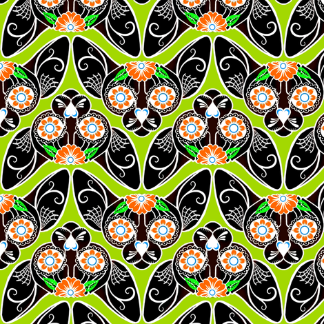 Black with Green Sugar Skull Sphynx Cat CHEVRONS fabric by glamourpuss on Spoonflower - custom fabric