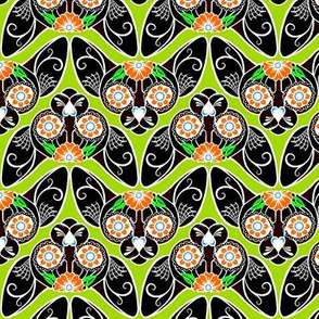 Black with Green Sugar Skull Sphynx Cat CHEVRONS