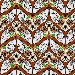 Brown Sugar Skull Sphynx Cat CHEVRONS