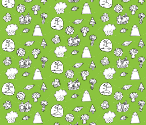 Nature Doodle fabric by duru_eksioglu on Spoonflower - custom fabric