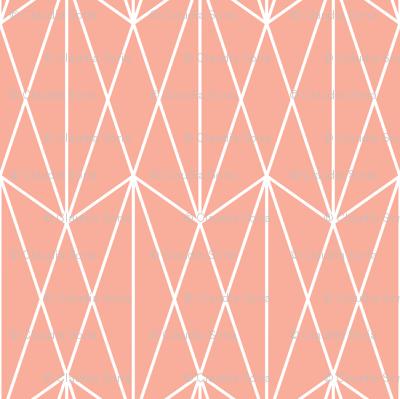 Diamond Grid - Coral
