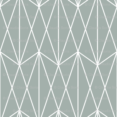 Diamond Grid - Teal Gray