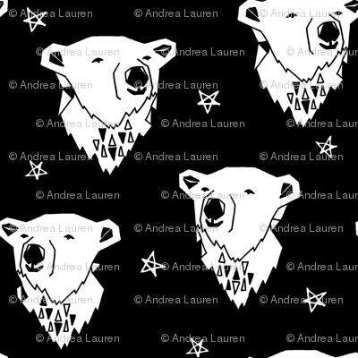polar bear // black and white scandi nursery bear cute fabric for kids  polar bears